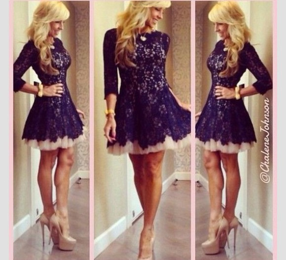 dress navy lace dress
