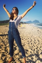 jumpsuit,overalls,denim,instagram,beach,alessandra ambrosio