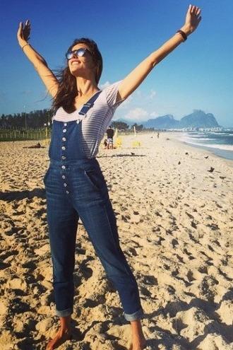 jumpsuit overalls denim instagram beach alessandra ambrosio