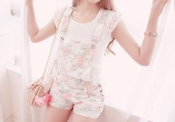 overalls jumpsuit floral white shorts denim overalls floral pastel floral overalls