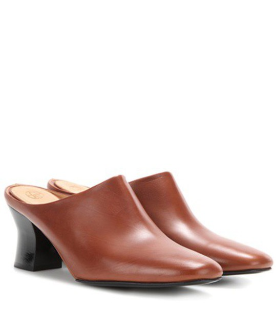 The Row Adela Leather Slippers in brown