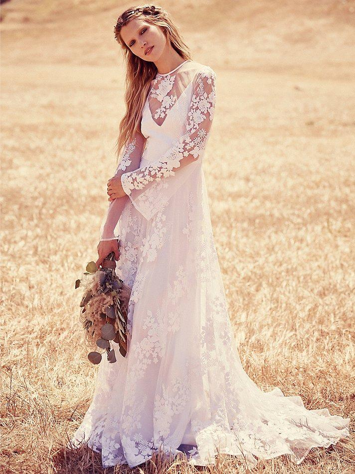 Long Sleeve Lace Wedding Dresses 2016 Juliet Boho Bridal Dress Embroidery See Though Corset Hollow Back High Neck Ribbon Bow Gowns Buy