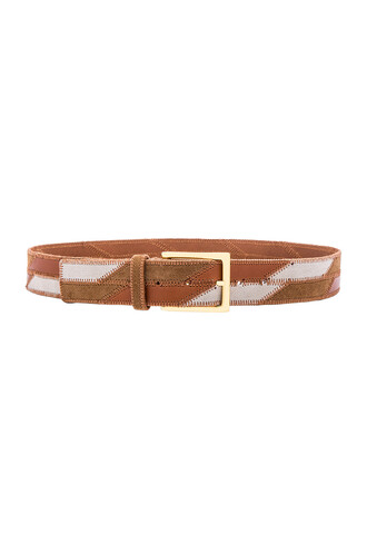 patchwork belt tan