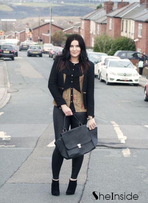 Black V Neck Long Sleeve Zipper Embellished Coat - Sheinside.com