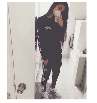 sweater grunge pale track pants aesthetic tumblr clothing on point clothing fresh adidas