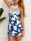 Blue back criss cross print lace mini dress