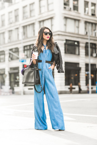 wendy's lookbook blogger jumpsuit sunglasses black bag leather jacket denim waist belt