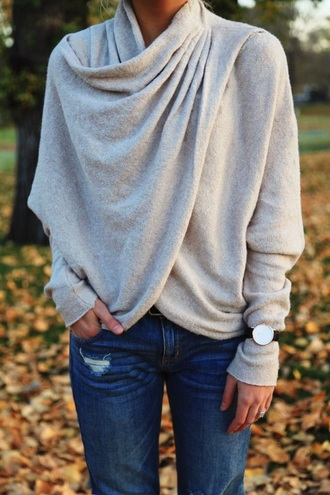 blouse sweater wrap gray top knotted swoop grey casual cute dressy shirt winter outfits long sleeves