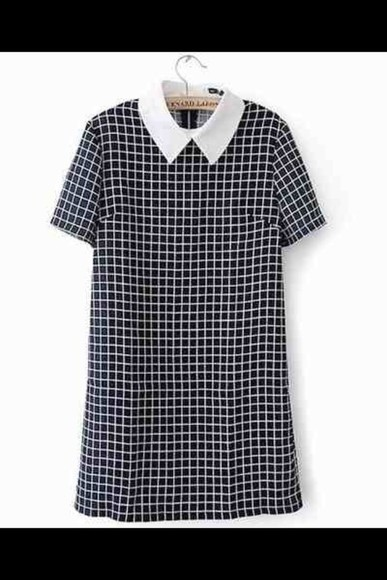 white collar collar collar dress little black dress peter pan collar formal school dress checkered check dress back to school chic short sleeve short sleeve dress mini dress