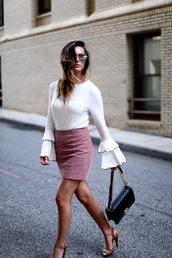 skirt,a-line skirt,mini skirt,sandals,clutch,bell sleeves,sweater,blogger,blogger style
