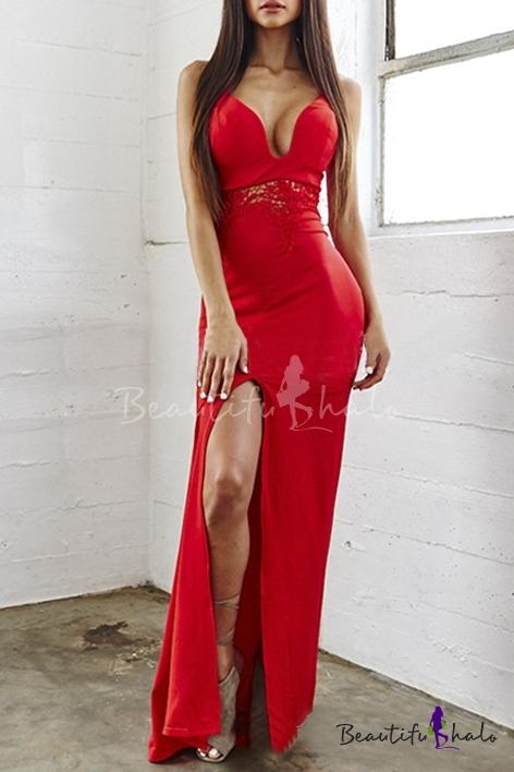 Lace Paneled Side Split Maxi Cami Dresses