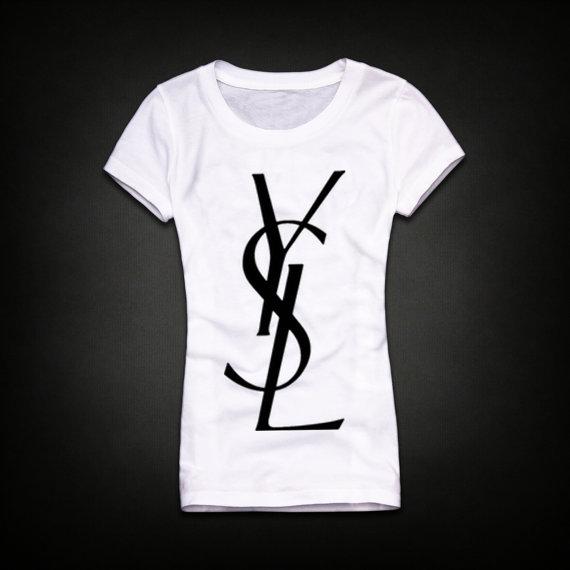 Ysl women tee top tshirt shirt size s m l xl by melissa2012us for Ysl logo tee shirt