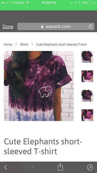 shirt tie dye shirt purple elephant print