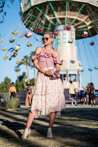 top crop tops plaid skirt shoes white shoes bag sunglasses