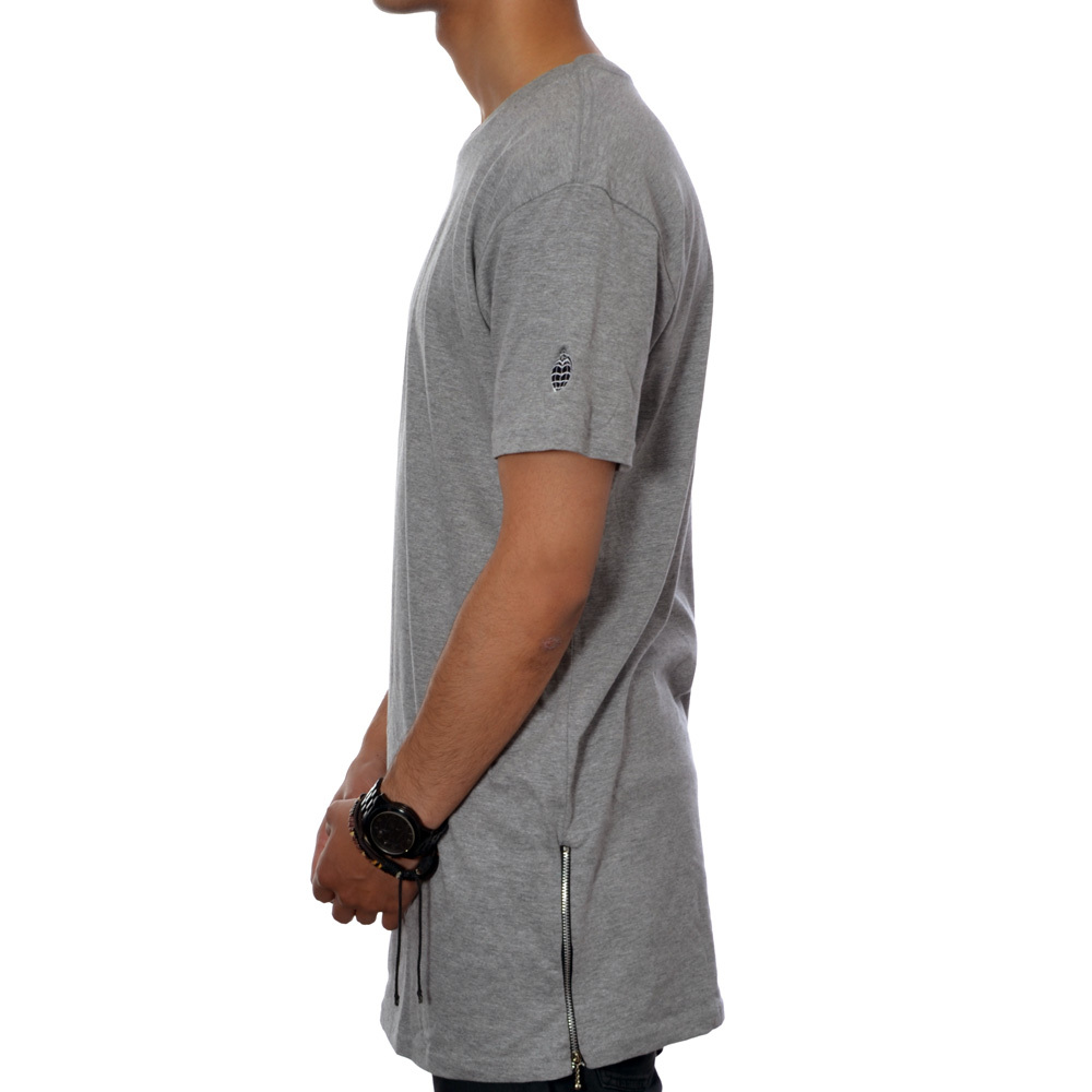 Essential tall zip tee (grey heather)