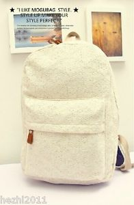 Chic Girls Classics Fashion Canvas Lace Backpack Schoolbag Handbag Black/White | eBay