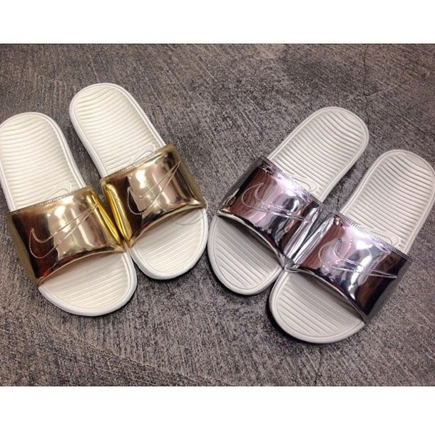 5ba01fd69f5 shoes nike slides nike sandals gold sliver slide shoes nike