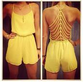 shorts,yellow,combi,combishort,romper,dress,cut-out,girly,sexy,pants,jumpsuit yellow shorts onepiece,yellow romper,sexy back,open back,jumpsuit,classy,summer outfits,cute,beach,bare back,one piece,summer,luxury,yellow dress,bralette,yellow jumper,jumper,strappy back,stripes,cut offs,trendy