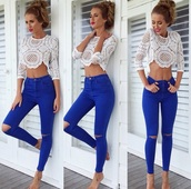 pants,blue jeans,white crop tops,jeans,jeggings,hair accessory,dress,shirt,crop tops,blouse,cute top,boho chic,phone cover,top,long sleeves,lace,ripped jeans,blue wash jeans,knee ripped jeans,dark blue jeans,knee rip,knee ripped,bottoms,knee distressed jeans,white top,summer top,lace top,outfit,long sleeve crop top,skinny jeans,style,fashion,high waisted jeans,red lipstick,leggings