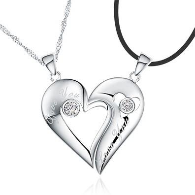 Custom Name 925 Sterling Silver Half Heart Relationship