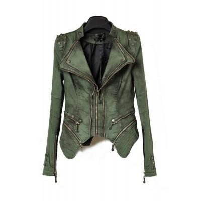 Women's short slim studded zippers shrug shoulders jacket