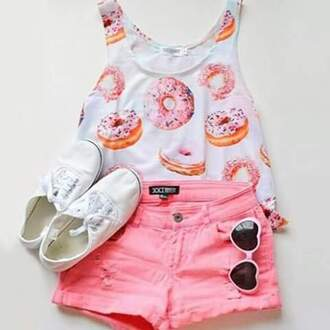 blouse donut pink shorts pink short crop tops fashion