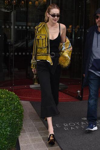 top tank top black top gigi hadid model model off-duty streetstyle paris fashion week 2017 jacket