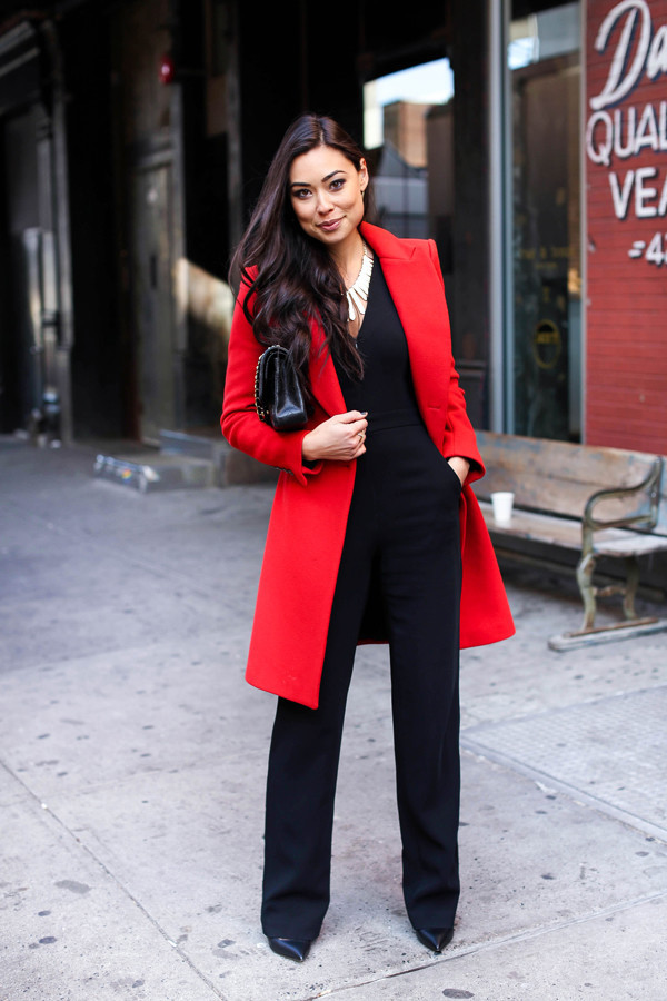 with love from kat blogger jumpsuit coat jewels bag