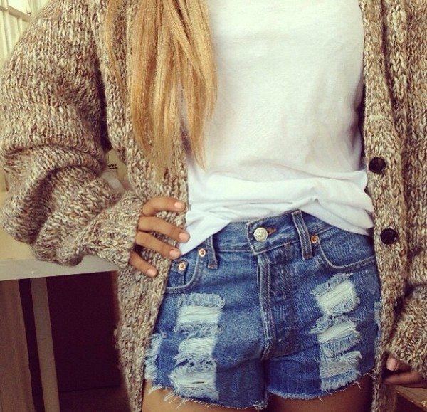 sweater beige knit sweater shorts