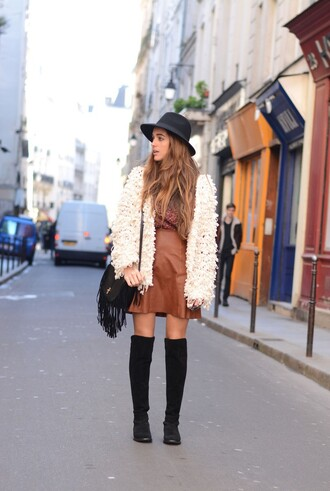 stella wants to die blogger black boots knee high boots leather skirt fringed bag boho fuzzy coat