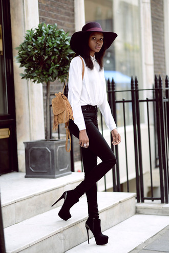 bisous natascha blogger blouse jeans shoes bag suede backpack fringe backpack shirt white shirt hat burgundy hat black jeans boots black boots high heels boots fall outfits mini backpack
