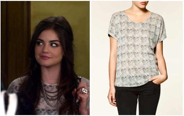 Pretty Little Liars: Season 2 Episode 23 Aria's Skull Top | ShopYourTvShopYourTv