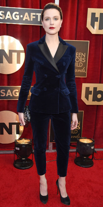 pants suit blazer evan rachel wood sag awards pumps