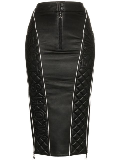 Marine Serre High Waisted Quilted Leather Midi Skirt - Farfetch