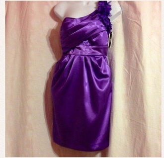 dress satin dress purple dress bridesmaid one shoulder
