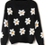 Black Long Sleeve Sunflower Pattern Knit Sweater - Sheinside.com