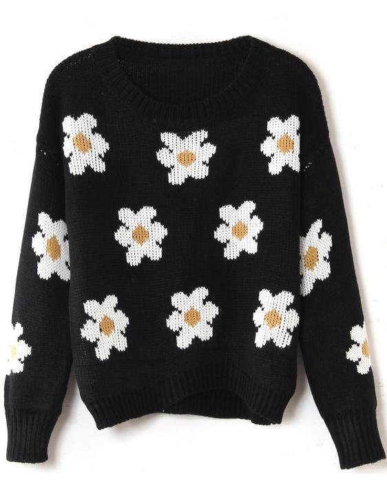 Black long sleeve sunflower pattern knit sweater