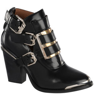 Jeffrey Campbell Women's Hyatt Buckle Leather Ankle Boots - Black 			Womens Footwear - FREE UK Delivery