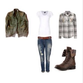 jacket greenjacketshirt checkedshirt combatboots brownbelt rippedjeans whitetop belt jeans shirt shoes t-shirt jacketshirt flannel