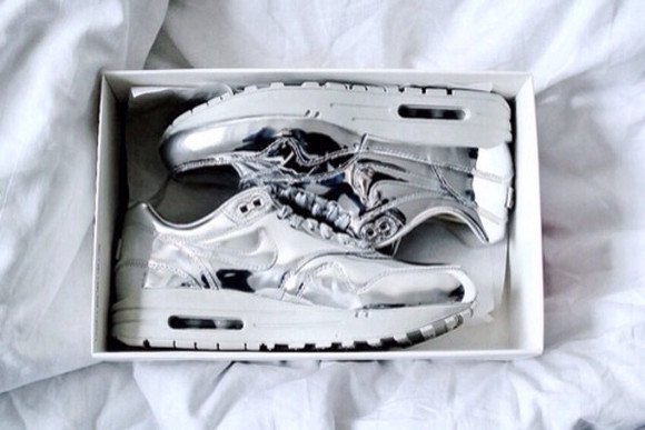 shiny shoes silver shoes sneakers nike sneakers