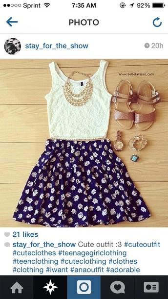 dress lace top skirt flowers blue skirt white top cute dress