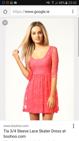 dress coral dress 3/4 sleeve coral skater dress skater dress summer dress lace boohoo dress size10