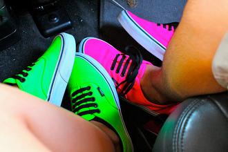 shoes vans neon pink green original swag street girl girly