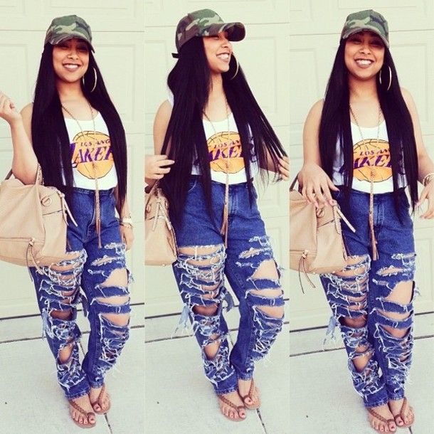 pants lakers fan cute summer ripped pants sandals long hair army hat big ass earrings shirt