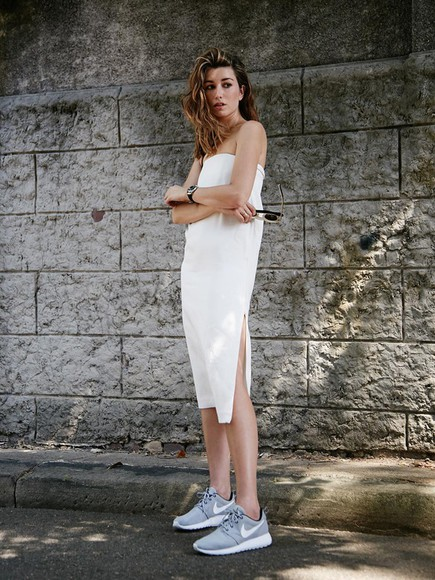 bustier dress white jewels the chronicles of her blogger bag sunglasses nike running shoes slit dress