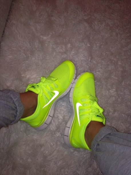 shoes, nike free run, neon yellow, nike, nike running ...