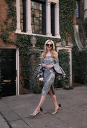 dress,tumblr,sequins,sequin dress,silver,silver dress,midi dress,slit dress,new year dresses,holiday season,holiday dress,pointed toe pumps,high heel pumps,pumps,silver shoes,sunglasses,black sunglasses,off the shoulder,off the shoulder dress,ruffle,ruffle dress,bow shoes