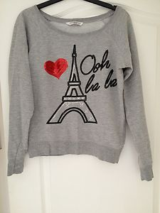 New look grey jumper sweater ooh la la motif sequin heart paris new look grey jumper sweater ooh la la motif sequin heart paris top size 12 ebay publicscrutiny Choice Image