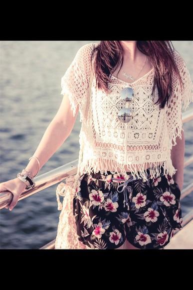 pinterest style blouse cream weheartit skin beach fashion see through shorts top