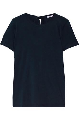 t-shirt shirt back open cotton blue top